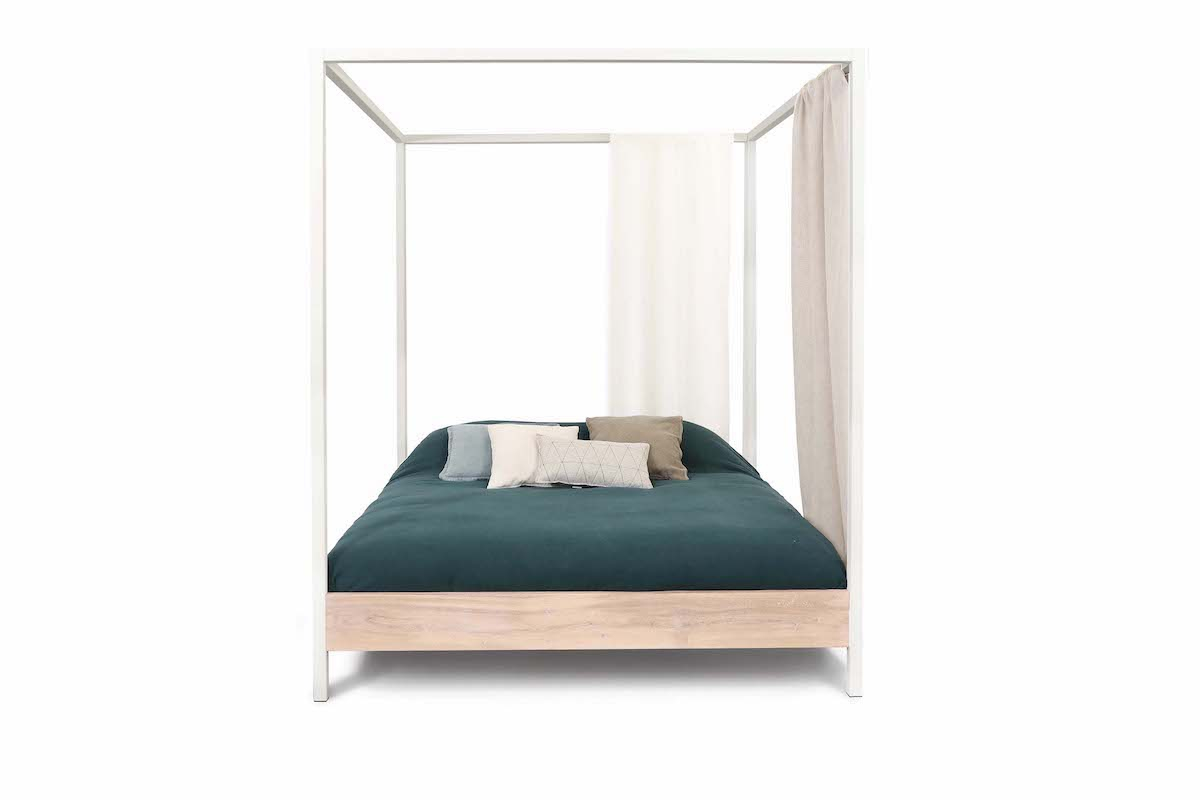 Hemelbed massief hout bed white wash